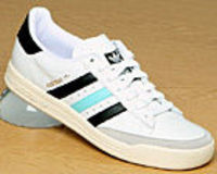 Adidas Tennis TC White/Black/Aqua Leather Trainer Adidas Tennis TC White/Black/Aqua Leather TrainerColourway; White Black OceanWhite leather uppers with trademark adidas 3 stripes in black and aqua. Gorgeous thick lightweight synthetic sole unit http://ww...