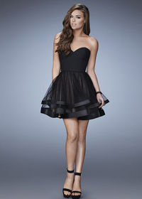 Charming Strapless Black Tiered Scattered Embellishment Cocktail Dress