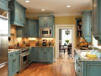 Turquoise rustic cabinets. LOVE LOVE LOVE