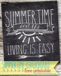 Free Summertime Chalkboard Printable /// Simple 8x10 design /// Instant download