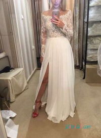 Sexy illusion slit chiffon destination #weddingdress