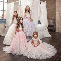 Flower Girl Dresses With Bow Beaded Crystal Lace Up Applique Ball Gown $136.99