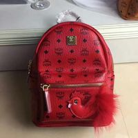 MCM Small Stark Rooster Backpack In Red