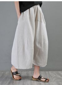 Palazzo pants, Beige Linen pants, linen pants, Linen cropped pants, Wide leg pants, Trousers in Beige Women's, Pants for Women
