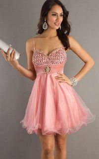 Short Pink Spaghetti Straps Sequins Homecoming Dresses