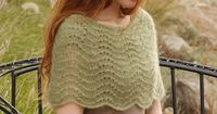 """Knitted DROPS shoulder warmer with wavy pattern in 2 strands """"Kid-Silk""""."""