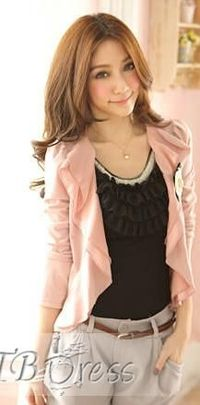 Attractive Falbala Collar Long Sleeves Jacket