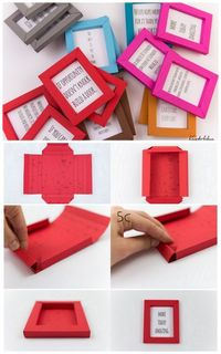 DIY Paper Frame Tutorial and Printable from kreativbuehne. These folded paper frames are quite small - but nice for quotes, postcards, kids' art, and anything e
