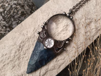 Pendant with natural stone - indian agat, magnifying glass and hand-drawn compass under another magnifying glass. For Men and Women $68.50