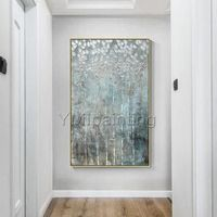 Silver leaf tree abstract acrylic painting on canvas original art extra large Wall Art palette knife wall Pictures decor cuadro abstracto $139.00