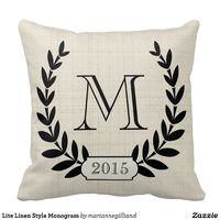 Lite Linen Style Monogram Throw Pillow