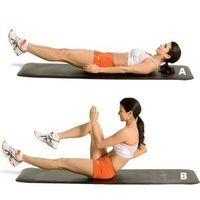 Targets upper and lower abs and obliques Lie on your back with your hands at your sides, legs straight, and heels hovering about six inches off the floor (A). S