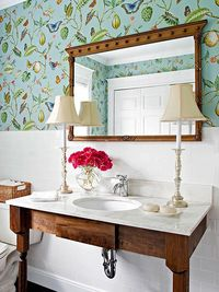 vintage table as vanity, wallpaper.