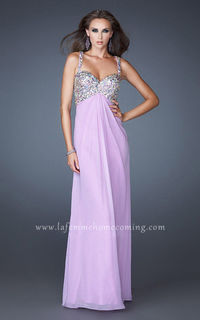Jewel Sweetheart La Femme 18841 Long Prom Dreses Lavender with Bead Straps