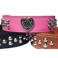 Tribal Celtic Heart Leather Dog Collar, Tapered, 1.5 inch wide $54.99