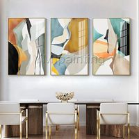 Framed painting set of 3 wall art Abstract painting Yellow acrylic paintings on canvas huge size original painting cuadros abstractos $163.53