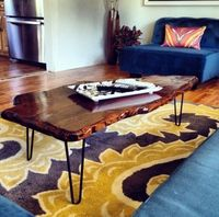 DIY Live Edge Coffee Table: update your living room this weekend by building your own trendy DIY raw edge coffee table.