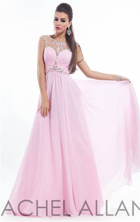 Long Beaded High Neck Rachel Allan 6934 Prom Dresses 2015