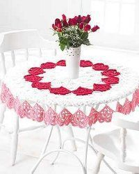 For the intermediate level crocheter, this lovely Valentine tablecloth is a perfect embellishment for your Valentine's Day decor. Have a delectable dessert with