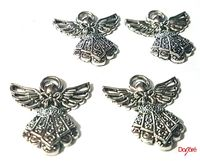 Pack of 4 Silver Coloured Angel Fairy Charms. Nature Theme Fairytale Charms. 23mm x 25mm £6.49