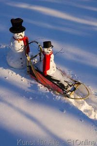 Small snowman ride on dog sled in deep snow in afternoon - Interior women s health fairbanks ak ...