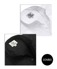White Herringbone and Black Satin Mandarin Collar Cotton Shirt Combo �'�2599.00
