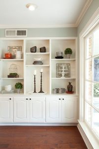As seen on HGTV's Fixer Upper - drywall above shelves?