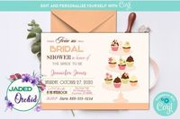 Peach Cupcake Wedding Shower Invitation, Cupcake Bridal Shower Invitation, Wedding Shower, Cupcake - INSTANT ACCESS - Edit NOW using Corjl $8.99