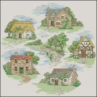 Adorable countryside landscape with cute five houses -cross-stitch pattern easy level for beginners cross-stitchers