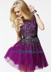 Half Sleeves Purple With Waistband Homecoming Dresses By Sherri Hill 2840