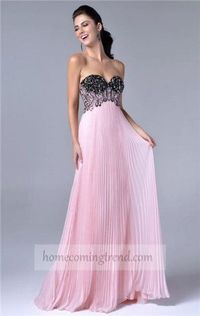 Cheap Pink Long Sweetheart Beaded Dress 2014