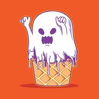 Halloween ice cream monster character peek a boo | Premium Vector.