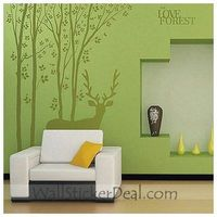 """Description: Size : 59""""x 78"""" Category : Tree Wall Sticker Material : Vinly Wall Sticker Room :bedroom, living room, Kids Room Color:Coffee Includes:Tree, Deer, Words"""