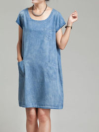 Summer Women Loose Fitting dress/ cotton Plus size denim dress