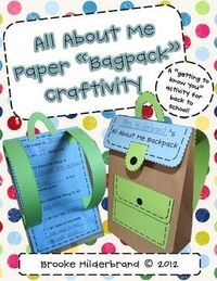 """all about me paper """"bagpack"""""""