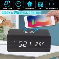 3in1 20W Qi Wireless Charge Clock Voice Control Digital LED Desk Wooden Alarm With Thermometer Xmas Gift