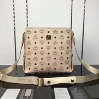 MCM Small Color Visetos Leather Messenger In Beige