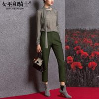 Vogue Attractive Polka Dot It Girl Spring Casual 9/10 Sleeves Twinset Skinny Jean Top - Bonny YZOZO Boutique Store