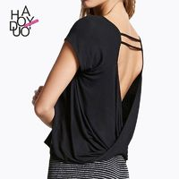 Vogue Sexy Simple Open Back Ruffle Hollow Out Summer Short Sleeves T-shirt - Bonny YZOZO Boutique Store