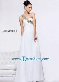 Ivory Ruched Sherri Hill 11026 Gold Beaded One Shoulder Prom Dress