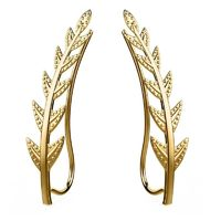 Feramox Ear Crawler Cuff Earrings Ear Climber Studs Olive Leaf Hypoallergenic $22.30
