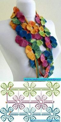 Scarf simple rose crochet pattern