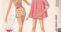 McCall's 6861; ©1963; Misses' Bathing Suit and Beach Coat. Lined bathing suit with contrasting midriff, and raglan sleeved beach coat with drawstring neckline.