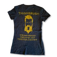 "THIGHBRUSH® - ""Strong Enough for a Man, But Made for a Woman"" - Women's T-Shirt - V-Neck - Heather Navy and Gold"