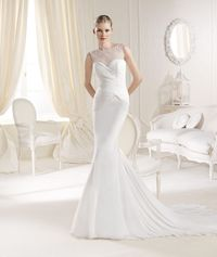 Trumpet Mermaid Tank Top Chiffon Ivory Court Train Wedding Dress B14l0004 for 201.05 �'� # landybridal