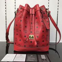 MCM Small Heritage Visetos Drawstring Bag In Red