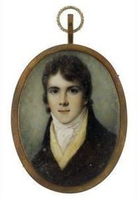 Samuel Shelley (British, 1750-1808) A Young Gentleman, wearing brown coat, yellow waistcoat, white chemise, stock and tied cravat. Signed on the reverse Sam Shelley/ No 6/ St. George St./ Hanover Square, gold frame. Oval, 71mm (2 13/16in) ...