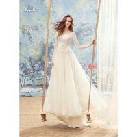 Papilio 2017 1709L Swan Appliques Tulle Ivory Long Sleeves Chapel Train Elegant Aline Scoop Neck Bridal Dress - Customize Your Prom Dress