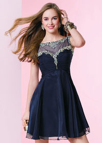 Short Illusion Beaded Ruced Bodice Midnight Blue Chiffon Party Dress