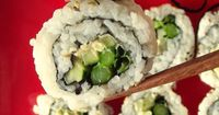Vegan cream cheese and veggie sushi with asparagus, cucumber, scallions and cashew cream cheese.